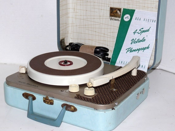 1950s RCA Portable Record Player with Warranty