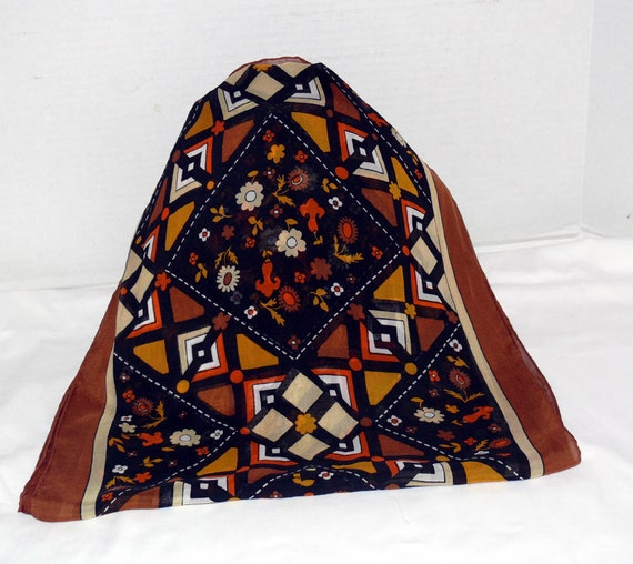 Silk Scarf - Orange Brown and Black -by BAYRON - Handrolled edge -  Deco Pattern