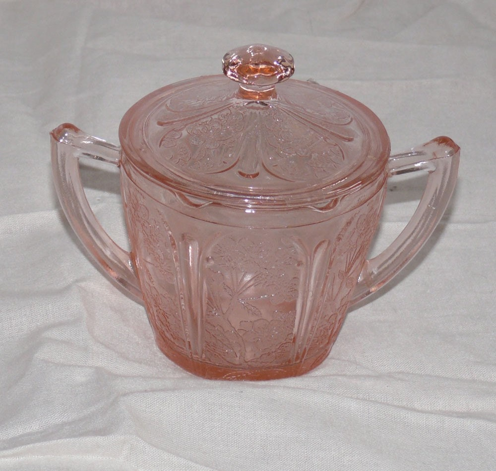 Vintage Depression Glass Sugar Bowl And Lid Pink By Allunique