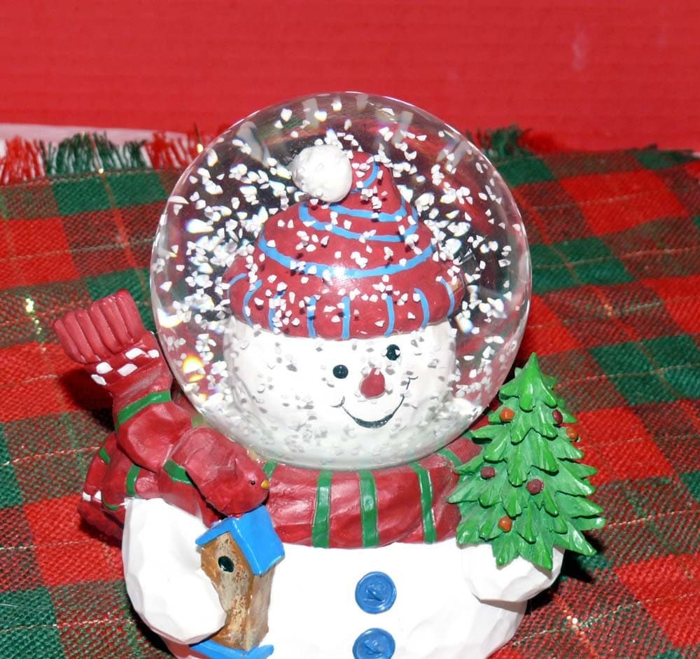 Music Box Snow Globe Snowman We Wish You A Merry
