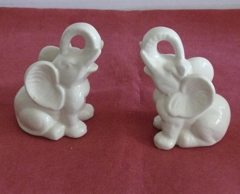 White Ceramic Elephant Figurines Bookends Or Knick Knack