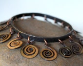 Forged Spiral Bangle with Enamel