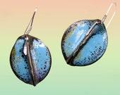 Turquoise Speckled Leaves-Copper Enamel Earrings