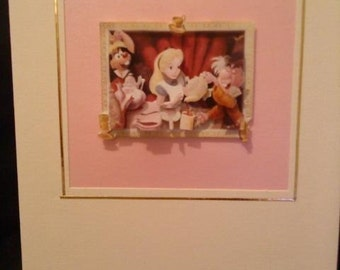 Alice In Wonderland Greeting Card - Mad Hatter's Tea Party - 3d decouapge