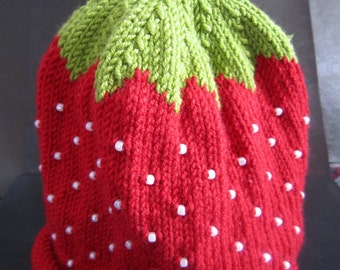 Hand Knitted Cashmere and Wool Beaded Strawberry Baby Hat 0-3 months