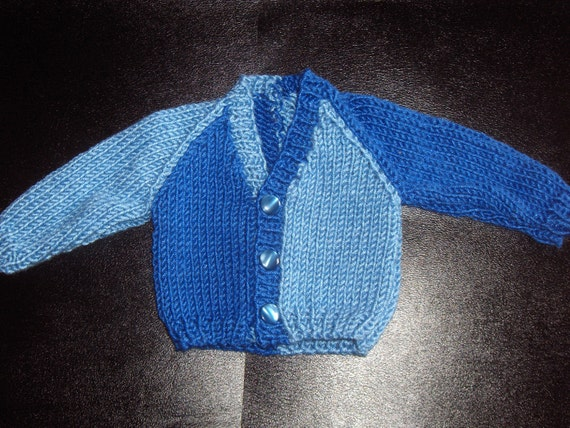 Small Baby V-Neck Sweater Cardigan Knitting Pattern