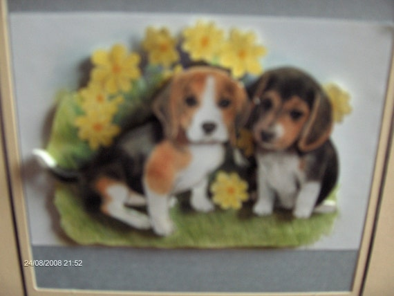 beagle puppies happy birthday card d decoupage a size, Birthday card
