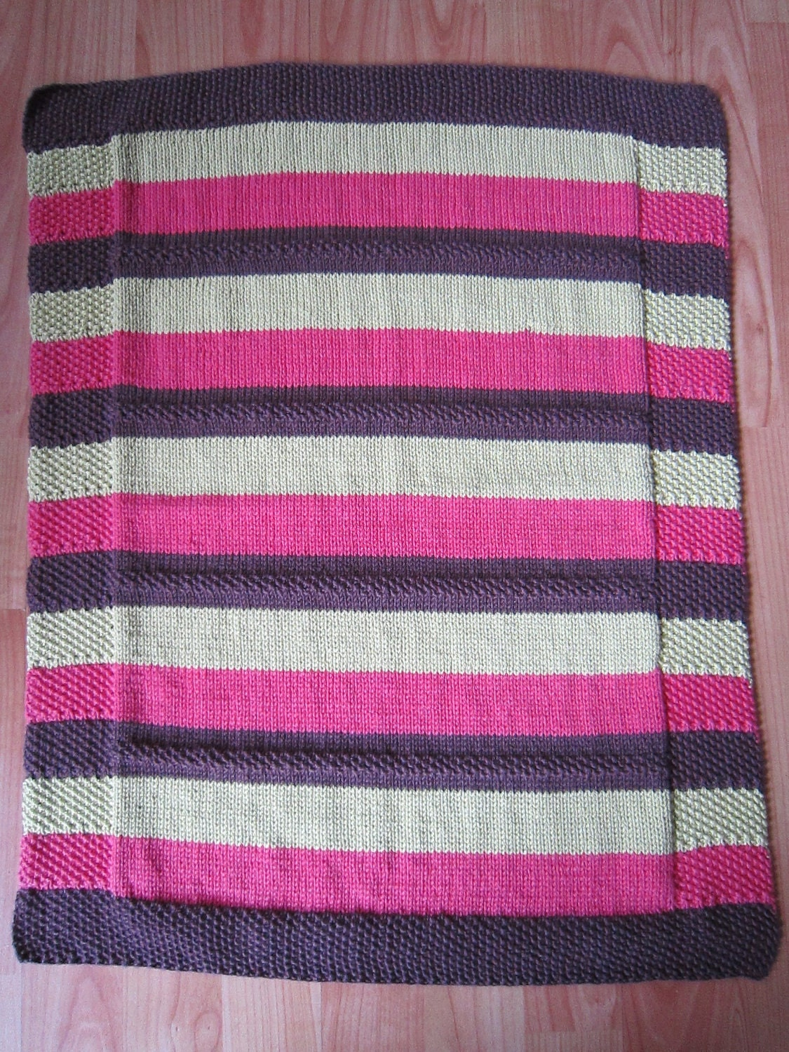 Hand Knitted Striped Wool and Cotton Baby Blanket Carseat