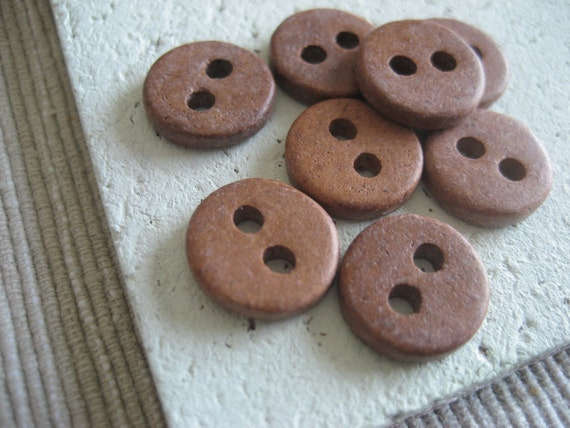 brown Ceramic buttons matte   -  12 mm  / 20 pcs - 2mk58