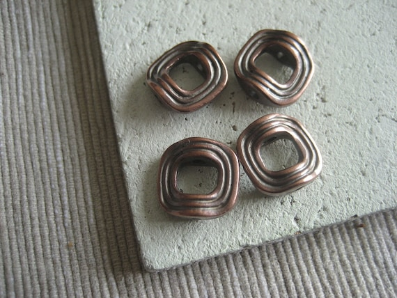 metal square bead frame metal casting  - bronze finish , antiqued copper   - 12 mm /  6 pcs - 5amk6