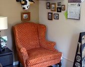 Retro Orange Wingback Chair With Wood Legs - LOCAL PICKUP ONLY (item in San Francisco) 350 obo