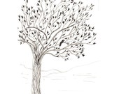 Spring Tree: Original Drawing in Pen and Ink