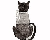 Cat with Bow and Sweater Original Pen and Ink Drawing