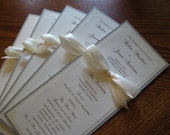 Wedding Program in Custom Colors, Fonts, Double Sided with Ribbon Bow - The Bistro Collection Sample