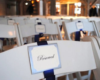 Chair Signs in Custom Colors, Fonts, Reserved for Wedding, Bridal Party, Parents, Grandparents, Ceremony, Reception - Bistro Collection