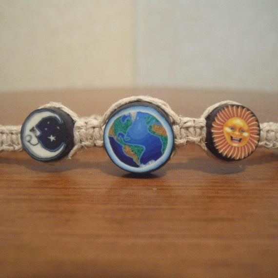 Sun, Moon, and Earth Polymer Clay Hemp Bracelet