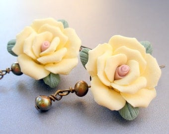 Flower and Pearl Victorian Style Earrings