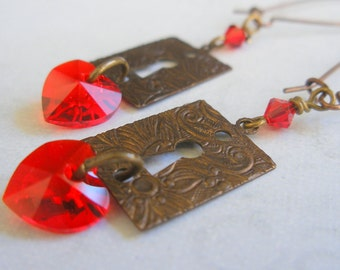 You hold the key to my heart - Hearts and Keyholes Red Swarovski Crystal and Brass Earrings