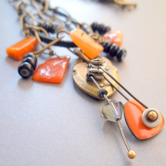 Necklace - Multistrand Carnelian and Charms on Chain