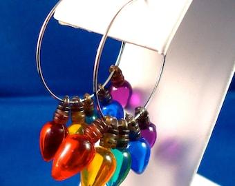 christmas light bulb hoop earrings