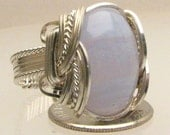 Wire Wrap Blue Lace Agate Silver Ring 18x13mm