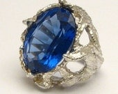 Handmade Man Made Tanzanite Faceted Stone Solid Sterling Silver Claw Cocktail Ring.  Custom Sized to fit you.