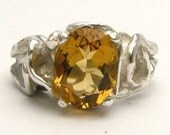 Gothic Whisky Quartz Solid Sterling Silver Gemstone Ring 10x8mm 3 ct.   Custom Sized to fit you
