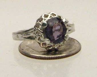 Purple Exquisite Spine Solid Sterling Silver Ring 6x4mm 1/2ct . Custom Sized to fit you.