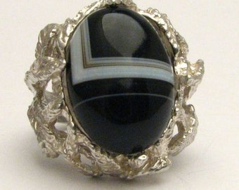 Black and White Onyx Cab Ring 12.5ct 10 grams of Solid Sterling Silver.   Custom Sized to fit you.