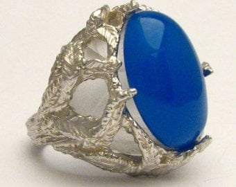New Blue Onyx Cab Gemstone Solid Sterling Silver Ring.   Custom Sized to fit you.