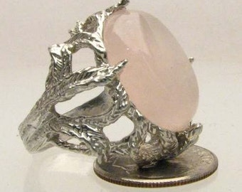 Pink Rose Quartz Cab Solid Sterling Silver Ring.   Custom Sized to fit you.