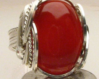 Handmade Wire Wrapped Carnelian Red Sterling Silver Ring. Custom Personalized Sizing to fit you.