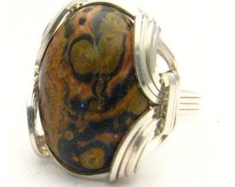 Wire Wrapped Leopard Skin Style Browns Gemstone Sterling Silver Ring.  Custom Sized to fit you.