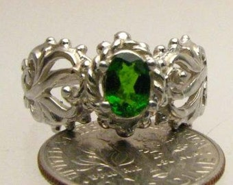 Dark Green Chrome Diopside Sterling Silver Ring Garnet Solid Gemstone.  Custom Sized to fit you