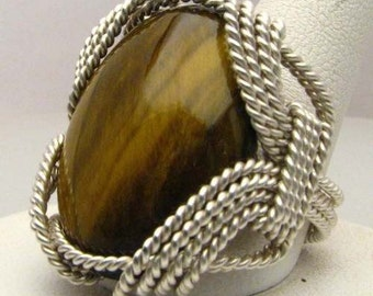Hand Made Wire Wrap Tiger Eye Sterling Silver Ring