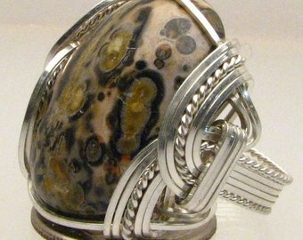 Handmade Wire Wrapped 925 Leopard Skin Agate Sterling Silver Ring. Custom Personalized Sizing to fit you.