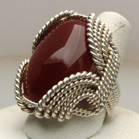 Wonderful Wire Wrap Carnelian Silver Ring