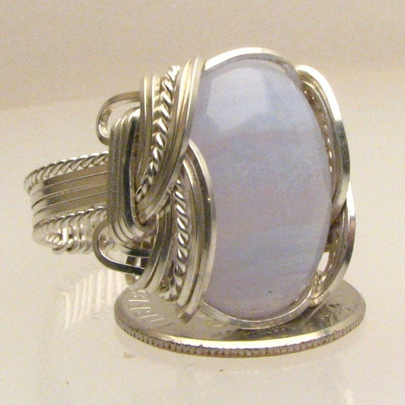 Wire Wrap Blue Lace Agate Silver Ring 18x13mm Cabochon Ring