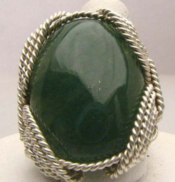 Handmade Wire Wrapped Green Onyx Sterling Silver Ring.  Custom Personalized Sizing to fit you.