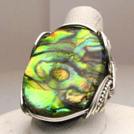 Handmade Wire Wrapped Abalone Shell Sterling Silver Ring.  Custom Personalized Sizing to fit you.