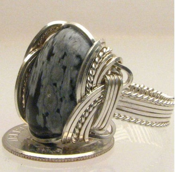 Handmade Wire Wrapped Black and White Snow Flake Sterling Silver Ring. Custom Personalized Sizing to fit you.