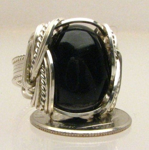 Handmade Wire Wrapped  Black Onyx  Sterling Silver Ring. Custom Personalized Sizing to fit you.