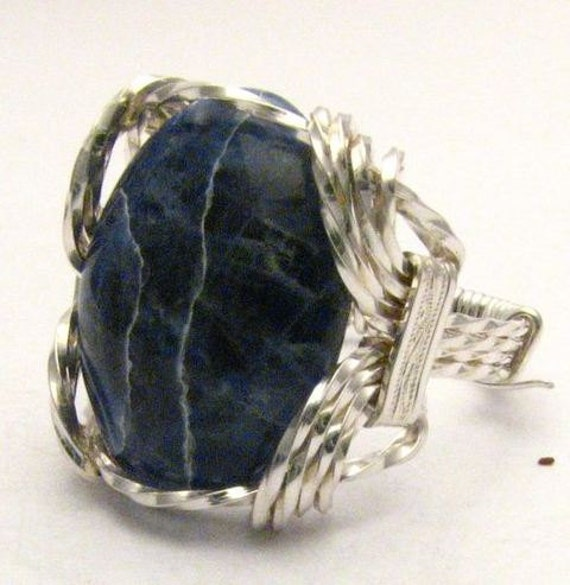 Beautiful Handmade Oval Wire Wrap 925 Silver Sodalite Silver Gemstone Ring.  Custom Sized to fit you.