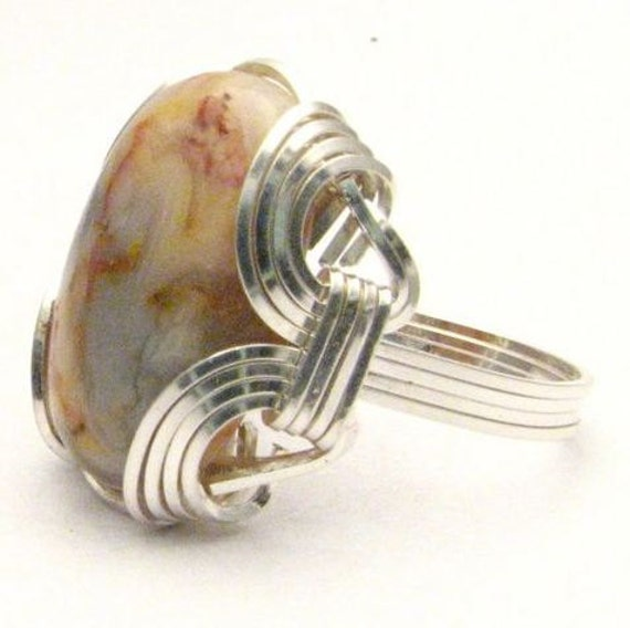 Wire Wrapped Light Dark Natural Colors Crazy Lace Agate Sterling Silver Ring Gemstone.  Custom Sized to fit you.