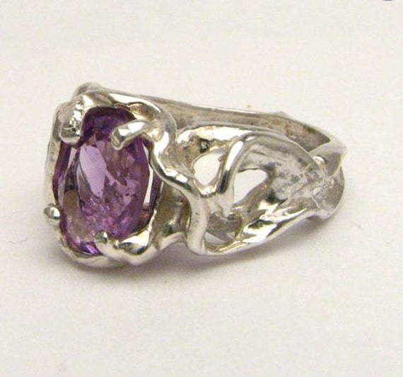Purple Gothic Amethyst Solid Sterling Silver Ring 9x7mm 2.5ct . Custom Sized to fit you.