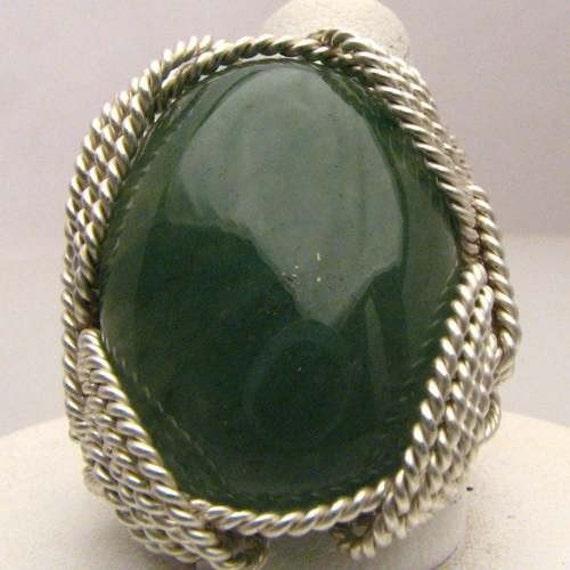 Handmade Artisan Wonderful Wire Wrap Green Onyx Gemstone Silver Ring