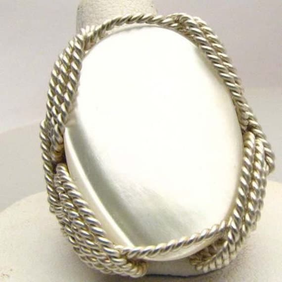 Wonderful Wire Wrap Mother of Pearl Silver Ring