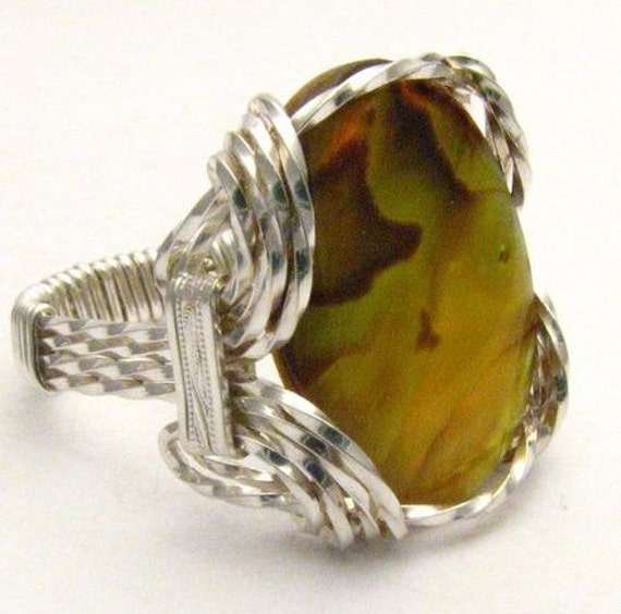 Oval Wire Wrap Gold Yellow Browns Paua Shell Silver Gemstone Ring.  Custom Sized to fit you.