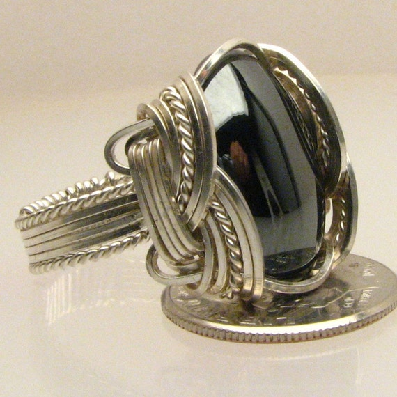 Wire Wrap Hematite Silver Ring 18x13mm