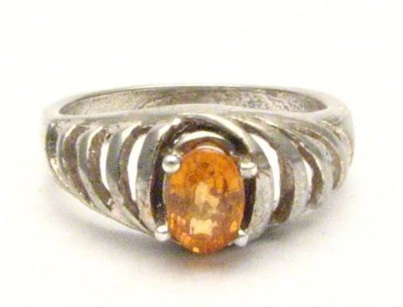 Orange Sapphire Sterling Silver Gemstone Ring 6x4mm NC. for Sizing.  Custom Sized to fit you.